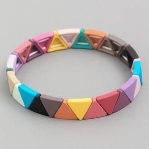 Rainbow Triangle Bead Stretch Bracelet